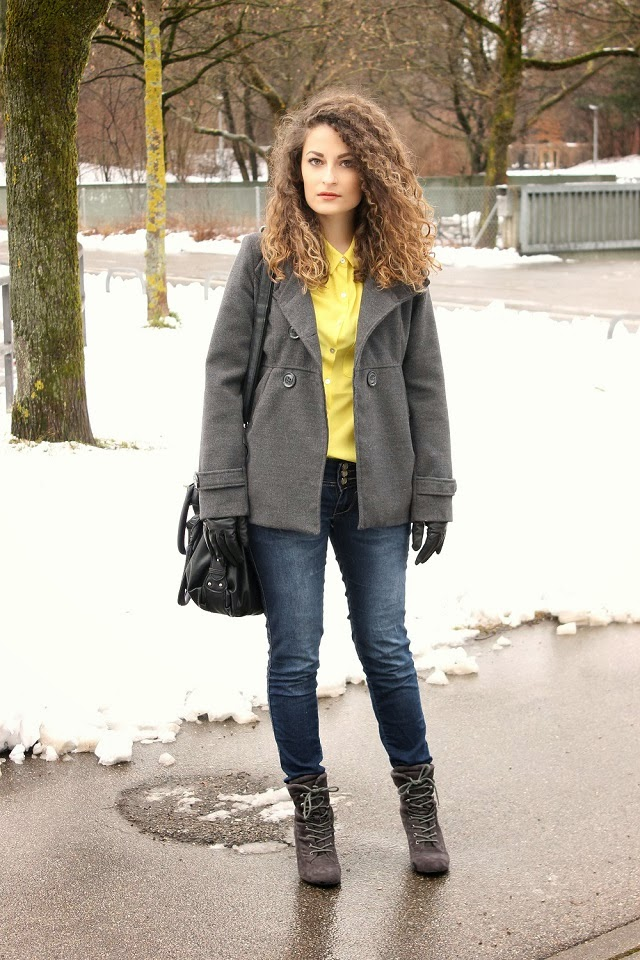 Wearing yellow in the snow