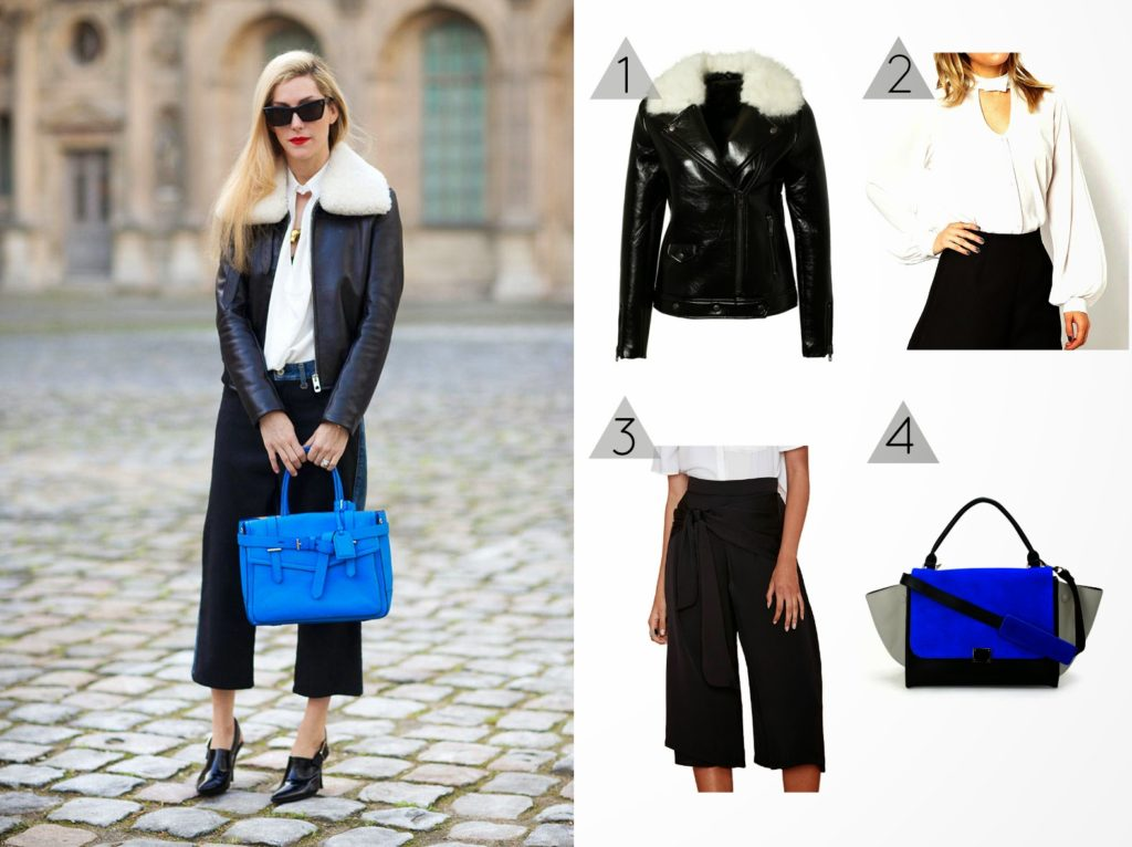 Get the look: fur collar jacket and culottes