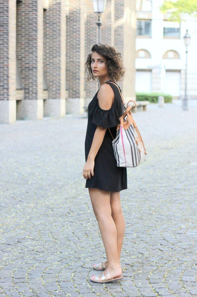 Strap off shoulder dress