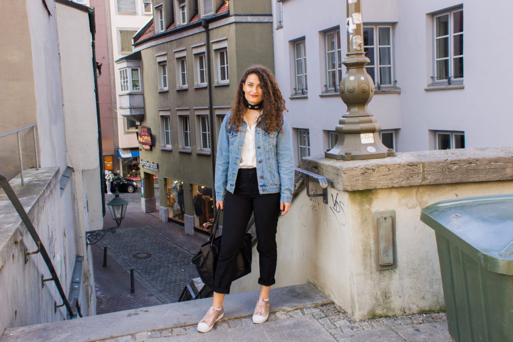 Denim jacket and metallic rose gold sneakers