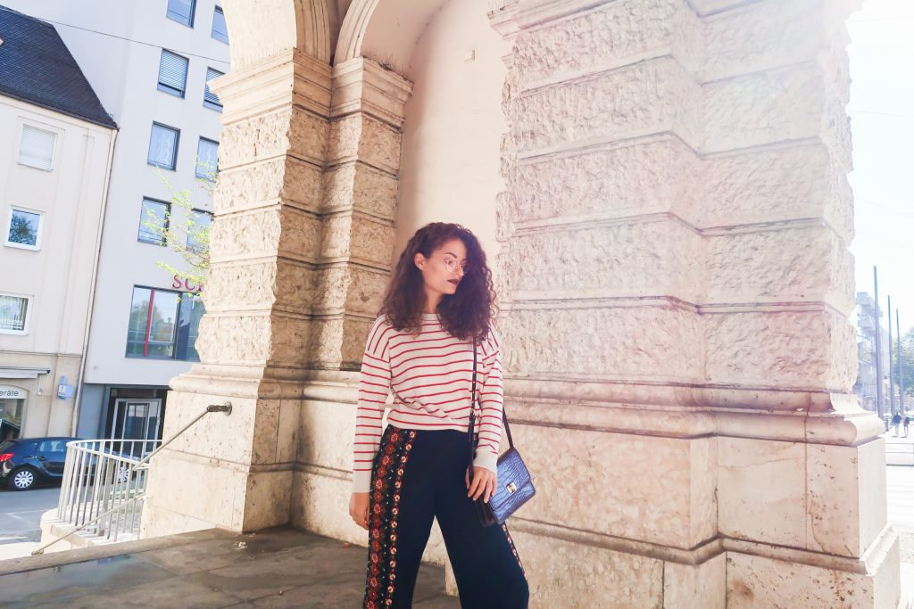 A perfect fall outfit: striped sweater and wide leg pants