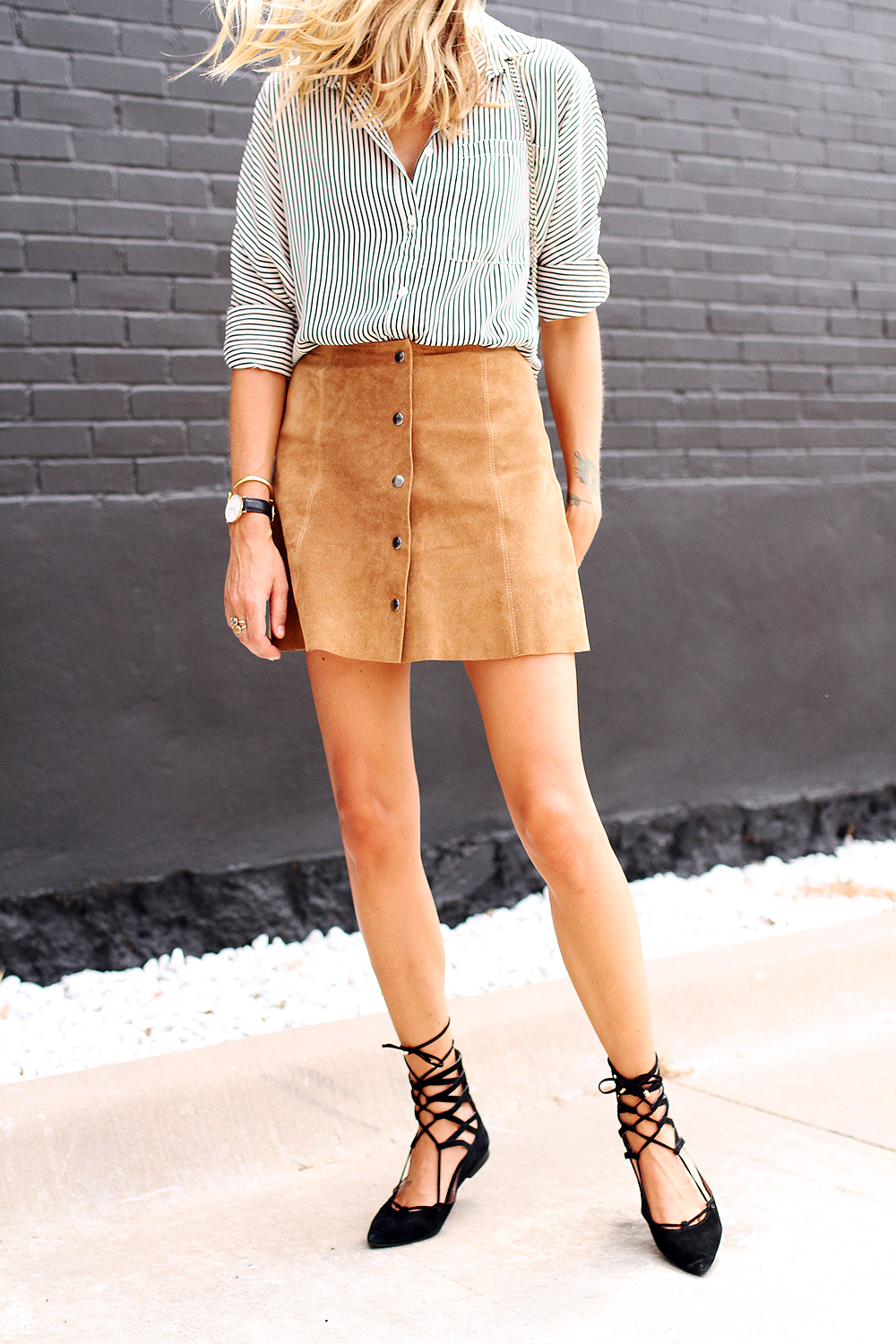 fashion-jackson-topshop-tan-suede-button-front-skirt-jeffery-campbell-black-lace-up-flats-black-and-white-stripe-shirt